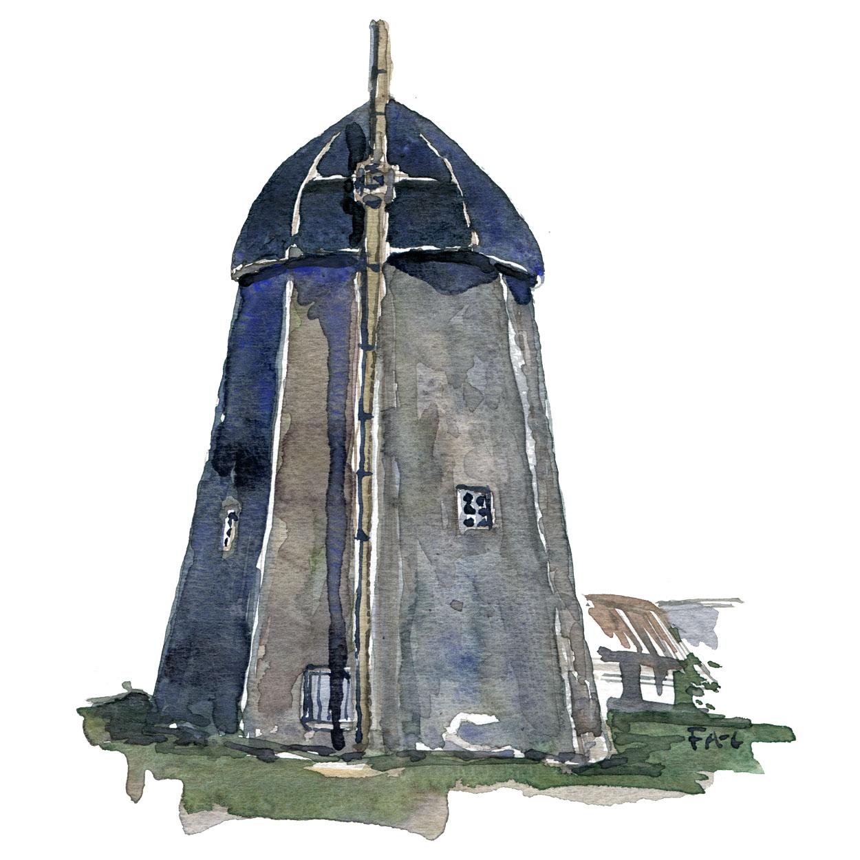 Akvarel af mølle uden vinger ( Saxebro ) på Bornholm.
