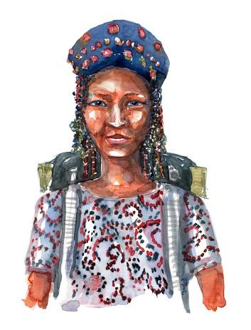 Pige m. blå hat. Vandrer med rygsæk i akvarel. portræt af Frits Ahlefeldt