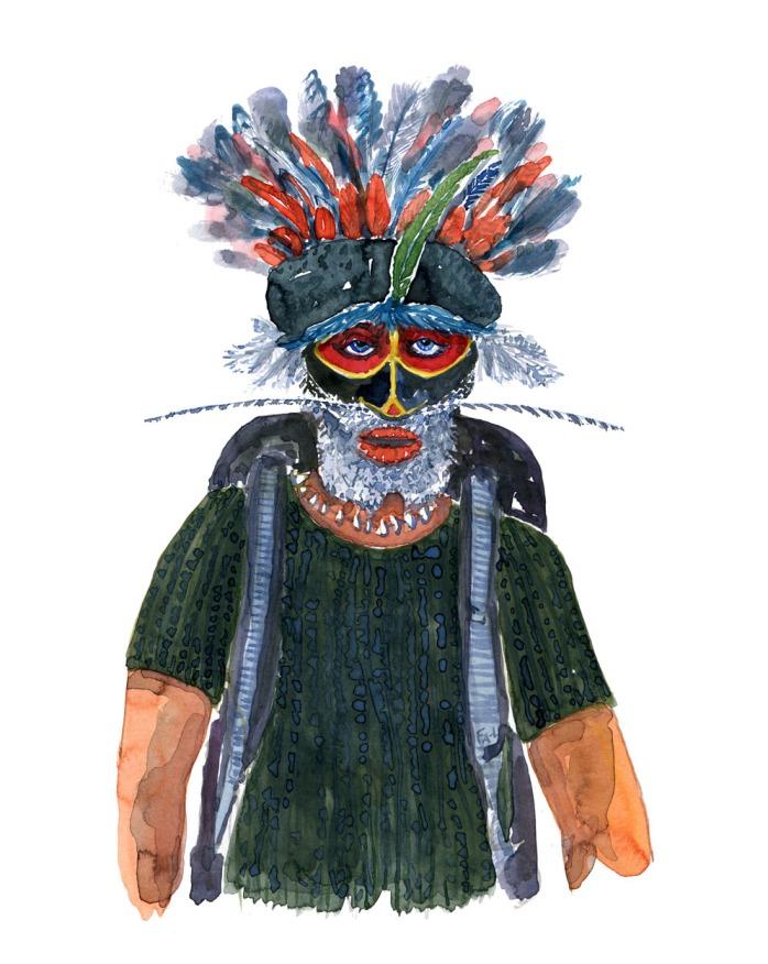 Mand i Grøn t-shirt. Vandrer med rygsæk i akvarel. portræt af Frits Ahlefeldt