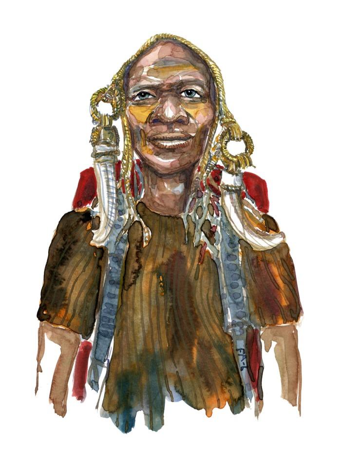 Naturfolk kultur, inspireret vandrer. Akvarel af Frits Ahlefeldt