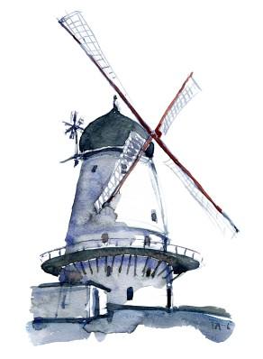 Akvarel af Gudhjem Mølle. Af Frits Ahlefeldt