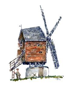 Akvarel skitse af Mested stubmølle på Bornholm. Frits Ahlefeldt
