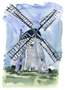 Akvarel af hvid hollandsk mølle. Myreagre. Bornholm.