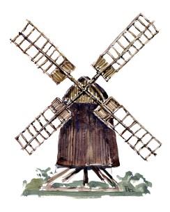 Akvarel skitse af en stubmølle i træ, på Bornholm