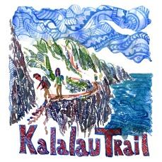 Kalalau Trail, Torres Del Paine - Akvarel af kendt vandresti - Akvarel af Frits Ahlefeldt