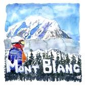 Tour de Mont Blanc Akvarel af kendt vandresti - Akvarel af Frits Ahlefeldt