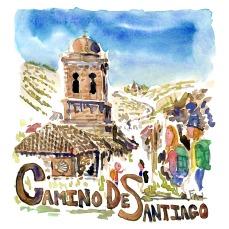 Camino de Santiago -- Akvarel af kendt vandresti - Akvarel af Frits Ahlefeldt