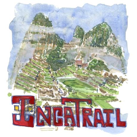 Inca trail - Akvarel af kendt vandresti - Akvarel af Frits Ahlefeldt