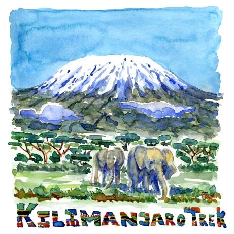 Kilimanjaro Trek - Akvarel af kendt vandresti - Akvarel af Frits Ahlefeldt