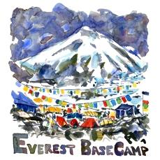 Everest Basecamp. Torres Del Paine - Akvarel af kendt vandresti - Akvarel af Frits Ahlefeldt