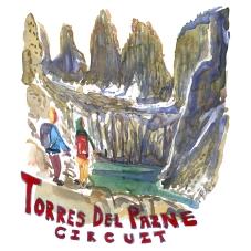 Torres Del Paine - Akvarel af kendt vandresti - Akvarel af Frits Ahlefeldt