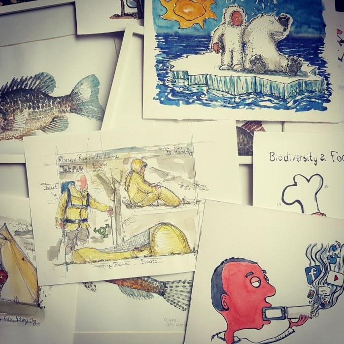 Blandet tegninger og akvareller af Frits Ahlefeldt