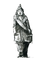 Tegning fra mennesker på gaden - Sort hvid tush illustration - tegnet live illustration af Frits Ahlefeldt