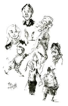 Menneskitser, flere. - Live tegning af Frits Ahlefeldt