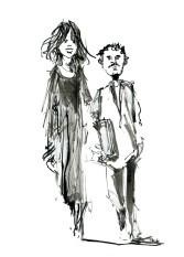 Portræt, Tegning fra mennesker på gaden - Sort hvid tush illustration - tegnet live af Frits Ahlefeldt