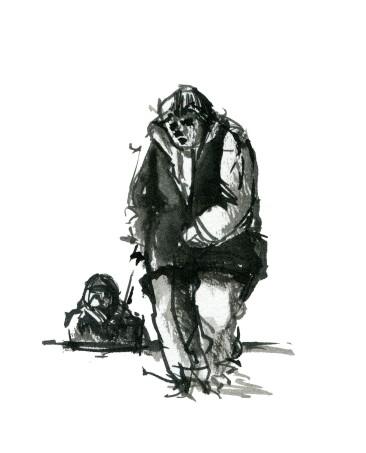 Tegning fra mennesker på gaden - Sort hvid tush illustration - tegnet live af Frits Ahlefeldt