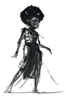 Dansende kvinde med stort hår. Tush Live tegning af Frits Ahlefeldt