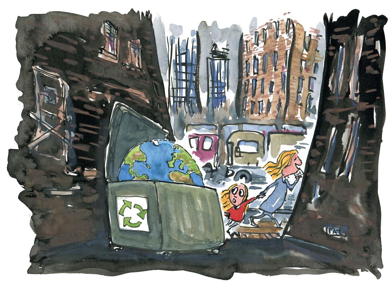 Mor og datter går forbi gyde med planeten i en container tegning af Frits Ahlefeldt