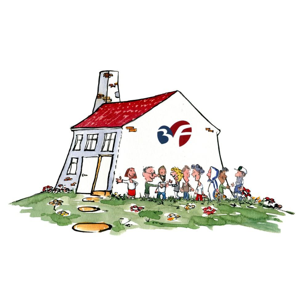 Tegning af hus med 3F logo på - illustration af Frits Ahlefeldt