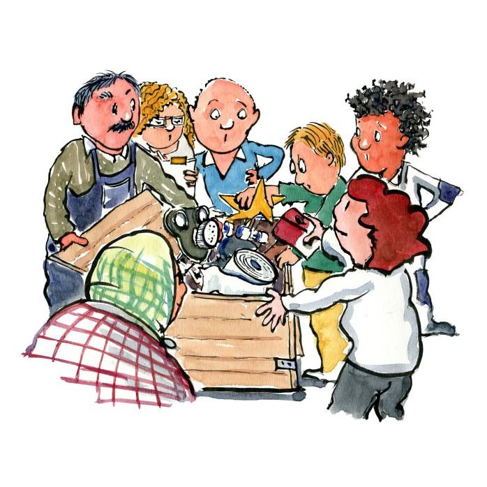 gruppe ved boks med forskellige ting i - - illustration af Frits Ahlefeldt