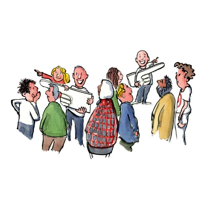 gruppe mennesker hvor nogle holder skilte med hænder - illustration af Frits Ahlefeldt
