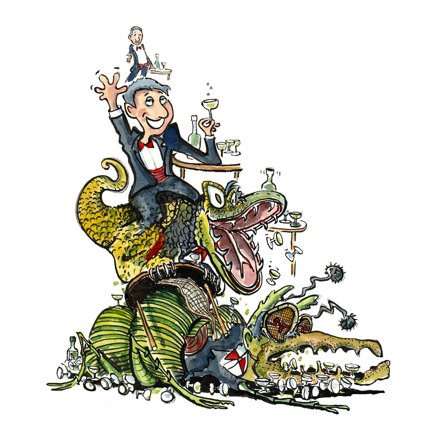 Tegning af mand ved bord og en forvandling til insekt længere fremme - - illustration af Frits Ahlefeldt