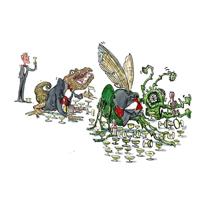 forløb af mand der bliver til insekt mens han drikker alkohol - illustration af Frits Ahlefeldt