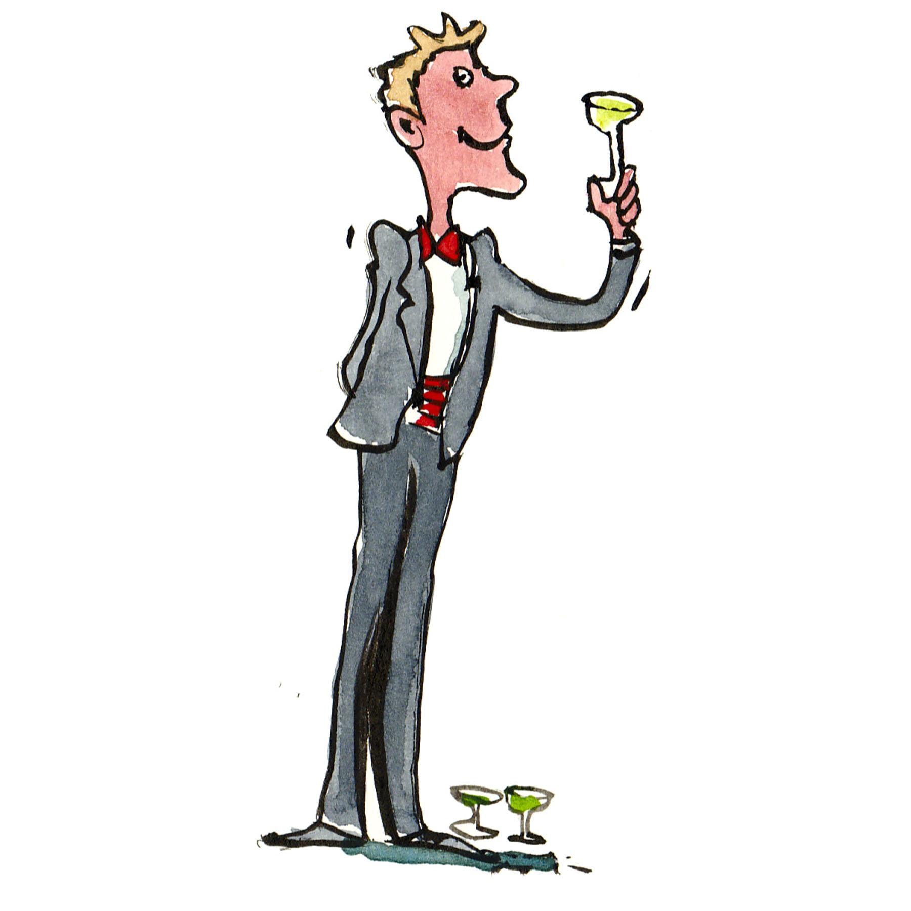 Mand i jakkesæt der skåler med glas - illustration af Frits Ahlefeldt