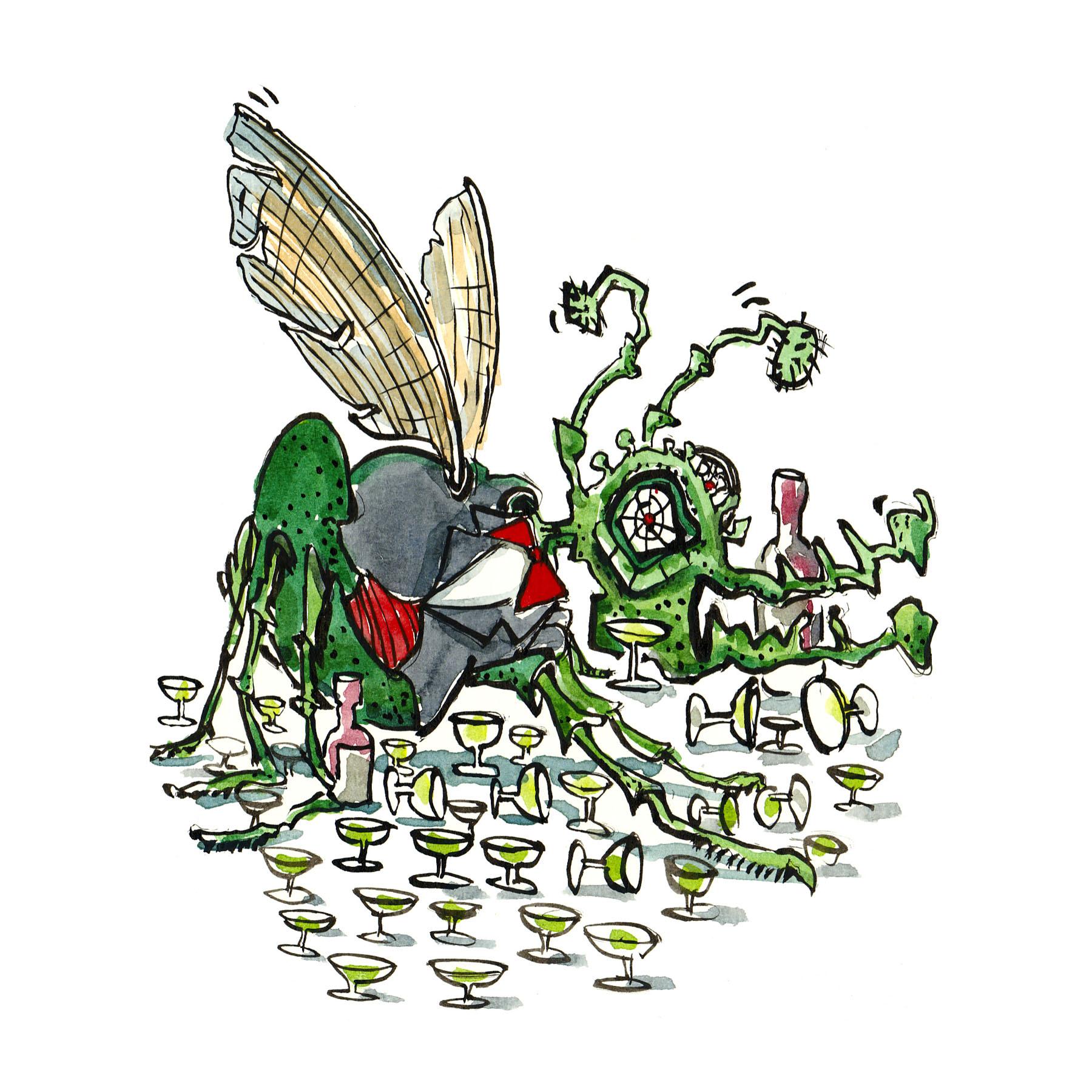 insekt i jakkesæt med glas og flasker omkring - illustration af Frits Ahlefeldt