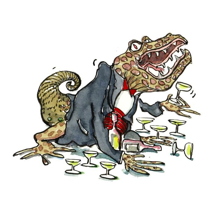 tegning af reptil i jakkesæt med glas omkring - illustration af Frits Ahlefeldt