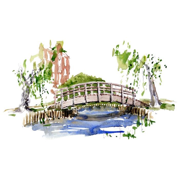 Sø og bro - Mur i have - Akvarel fra Bispebjerg Hospitals have af Frits Ahlefeldt