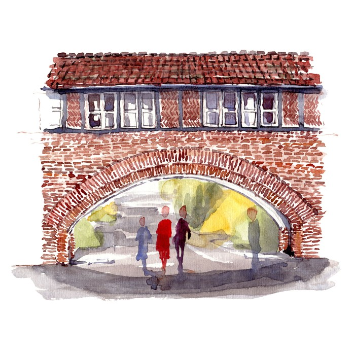 Mur i have - Akvarel fra Bispebjerg Hospitals have af Frits Ahlefeldt