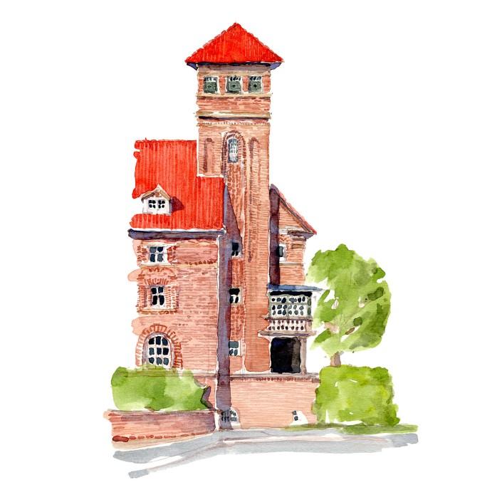 Taarn - Mur i have - Akvarel fra Bispebjerg Hospitals have af Frits Ahlefeldt