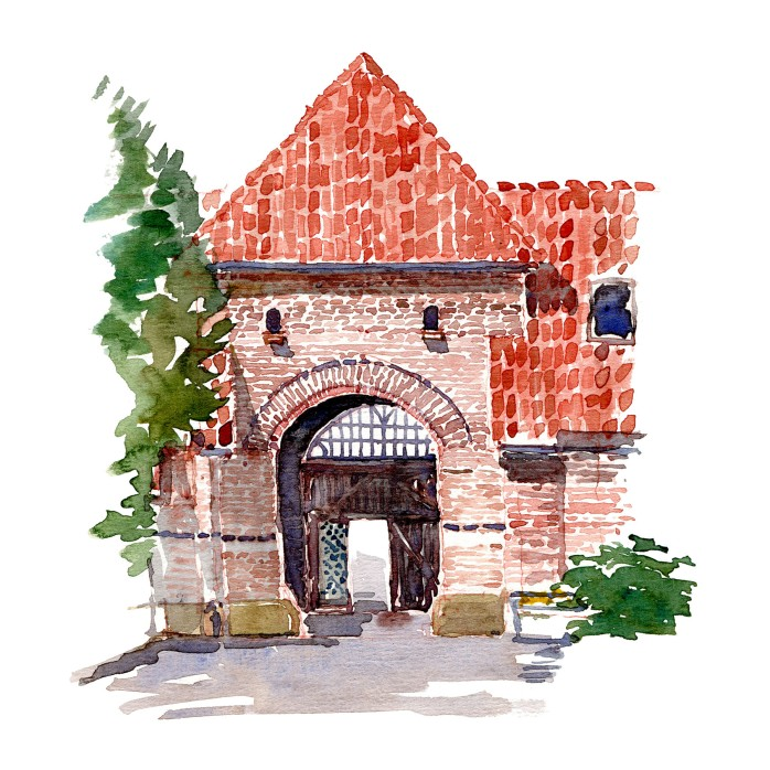 Portbygning - Mur i have - Akvarel fra Bispebjerg Hospitals have af Frits Ahlefeldt