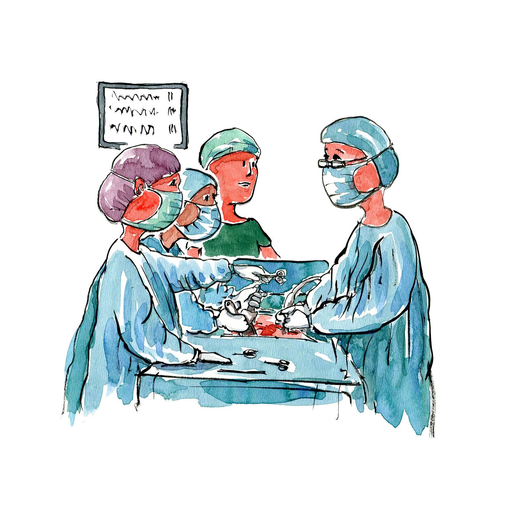 Operations-situation Herlev Hospital - illustration af Frits Ahlefeldt