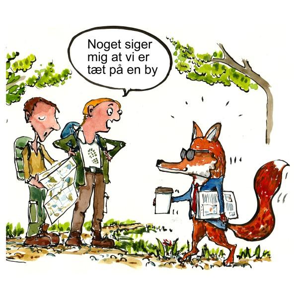 tegning af to vandrere som møder en ræv i jakkesæt med cafe latte - Tegning til DVL - Dansk vandrelaug - Illustration af Frits Ahlefeldt