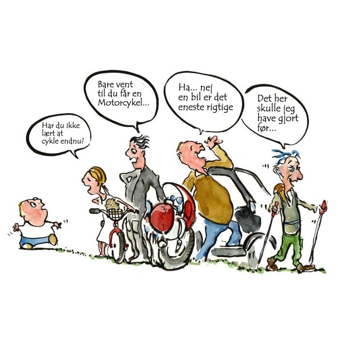 fra barnsben til gammel tegning - Tegning til DVL - Dansk vandrelaug - Illustration af Frits Ahlefeldt