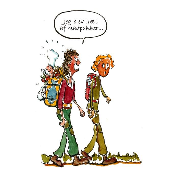 To kvinder med rygsække og den ene med en kok og køkken i sin rygsæk. Tegning til DVL - Dansk vandrelaug - Illustration af Frits Ahlefeldt