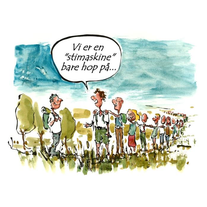 Folk i linie på sti - Tegning til DVL - Dansk vandrelaug - Illustration af Frits Ahlefeldt