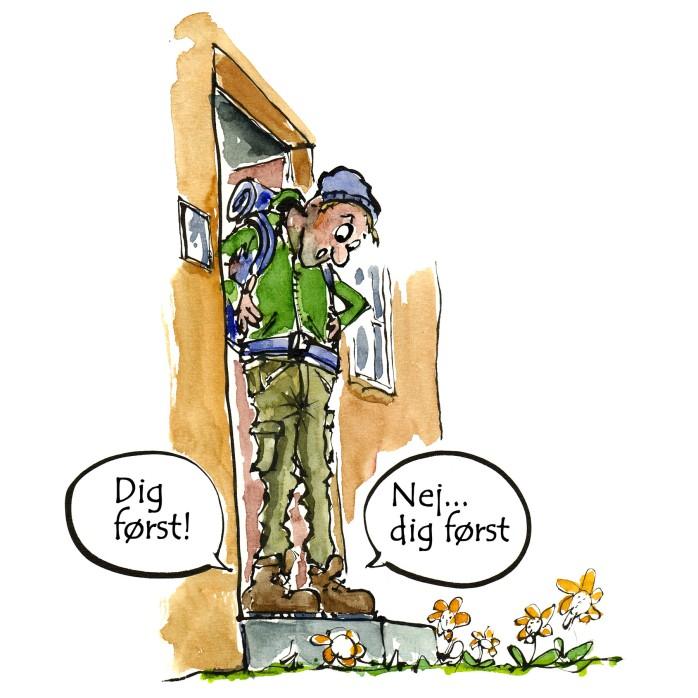 Tegning til DVL - Dansk vandrelaug - Illustration af Frits Ahlefeldt