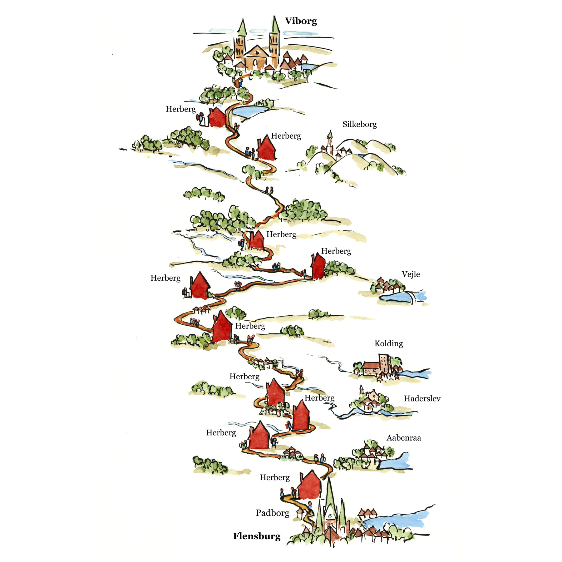 Tegning af Hærvejens forløb - Illustration af Frits Ahlefeldt
