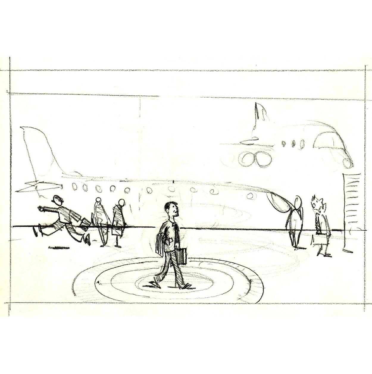 Tegning af mand i lufthavn med cirkel rundt. skitse af Frits Ahlefeldt