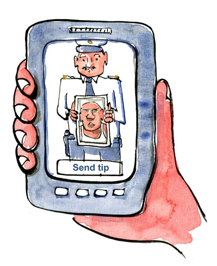 Tegning af hånd med telefon med politi med billede af forsvundet. tegning af Frits Ahlefeldt