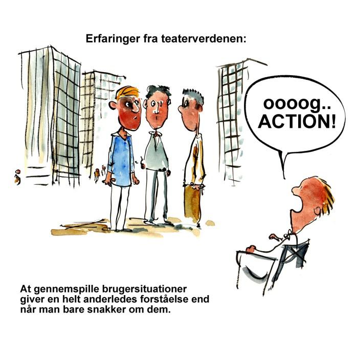 instruktør der råber og action til en gruppe folk - illustration af Frits Ahlefeldt