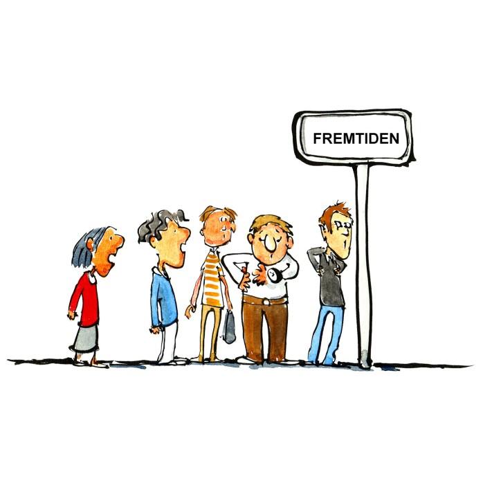 mennesker omkring et busstop - illustration af Frits Ahlefeldt