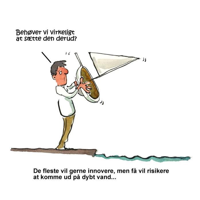 innovationstegning - en mand står med et skib han ikke vil sætte i vandet - illustration af Frits Ahlefeldt