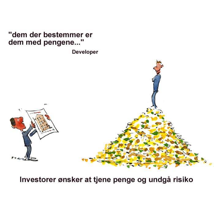 Mand på pengehøj ser tilfreds ud mens en forslår en bygning - illustration af Frits Ahlefeldt