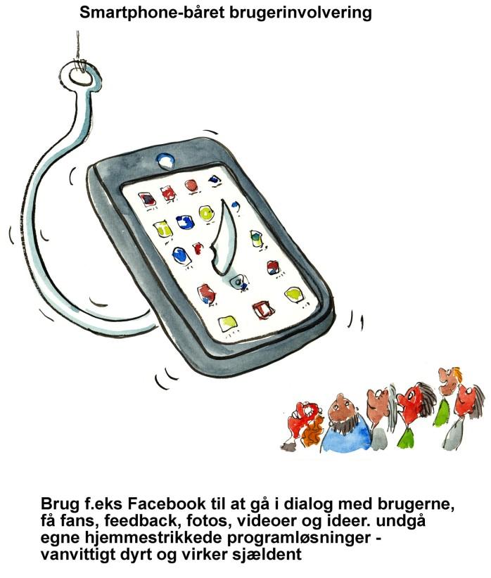 Tegning af en smartphone med en fiskekrog i - illustration af Frits Ahlefeldt