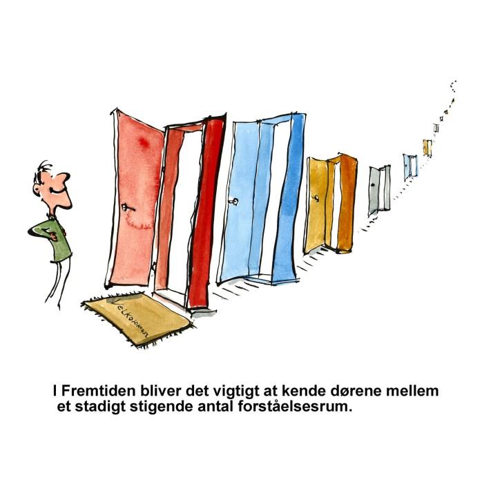 tegning af mange døre efter hinanden - illustration af Frits Ahlefeldt