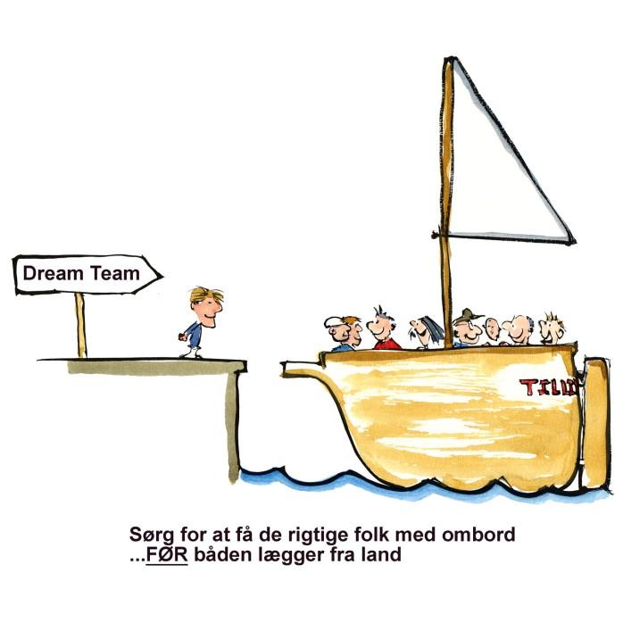 tegning af båd med teksten dream team - illustration af Frits Ahlefeldt